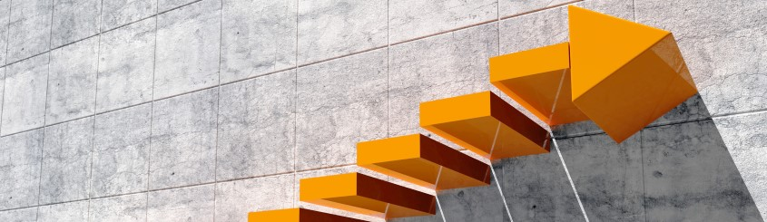Graphic of orange steps going up - top step is an arrow up