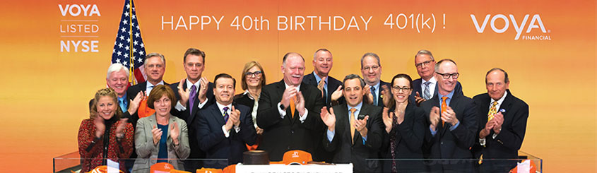 Industry leaders celebrating the 40th birthday of the 401(k) at the New York Stock Exchange