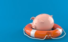 piggy bank floating in orange life ring