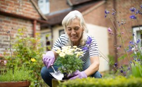 Pre-retiree age woman gardening with flowers